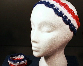 Patriotic Headband Crochet with Pearl Beads