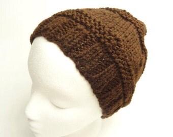 Beanie Brown Hat Hand Knit Textured  Hat For Him