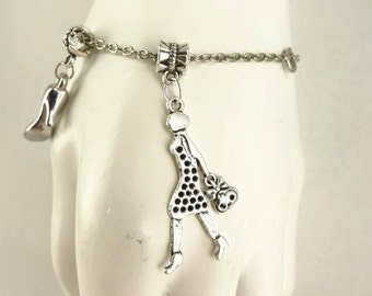 Bracelet with charms Lady Bag Shoe Charms, Silver Toned mother's day gift idea