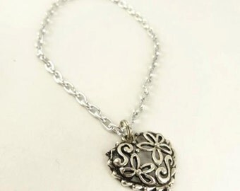 Heart Bracelet, Filigree  Heart Charm Silver Toned