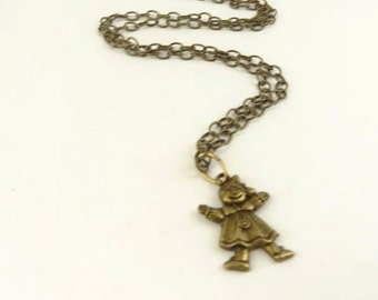 Necklace, Girl Charm, Antique Brass Toned