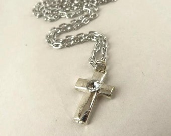 Silver Cross Necklace, Simple and Elegant, Mother's day gift idea