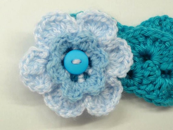 Crochet Headband, with flower, for girls,Turquoise Blue, School time, school headband