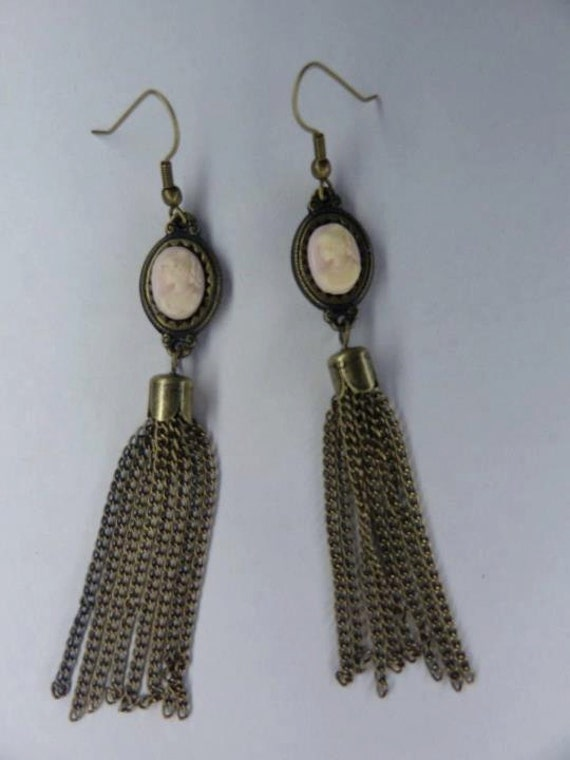 Cameo Earrings,  Antique Bronze Tone,  Chain Fringe