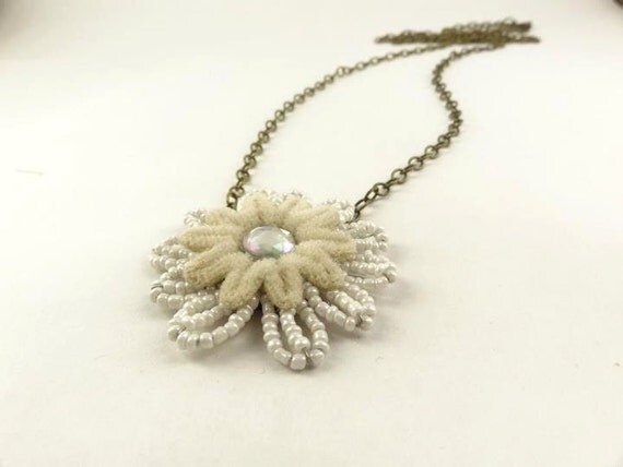 Necklace, White and Cream Flower, Rhinestone,   Antique Brass Toned