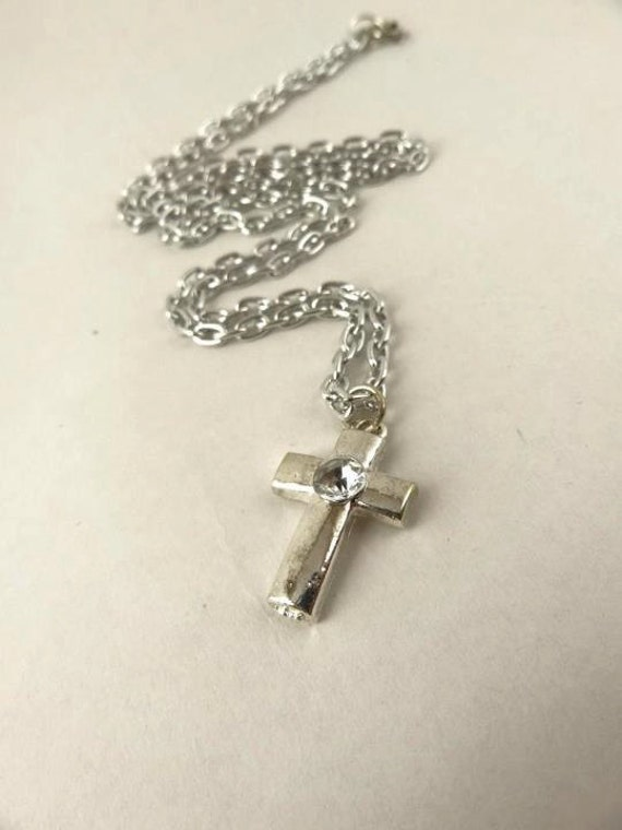 Silver Cross Necklace Simple and Elegant Mother's day