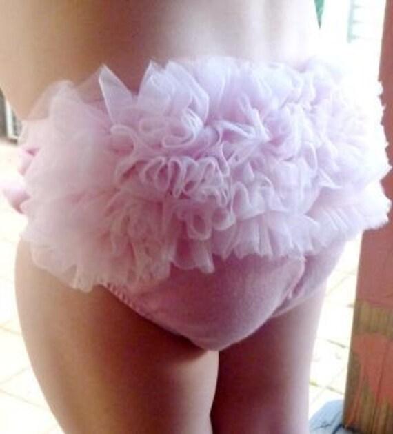 Chiffon Ruffle Bum Baby Bloomer Diaper Cover Powder Light Pink with Cute Chiffon Princess Tutu Like Ruffle Balerina Style