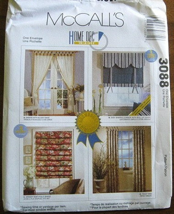 McCall's Sewing Pattern 3088 Home Decor Home Dec In A
