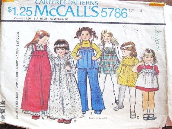 Little Girl's Jumper or Dress in Long or Short Lengths and Pinafore Apron - Vintage 1970s McCall's Sewing Pattern 5786 - Size 3 Chest 22