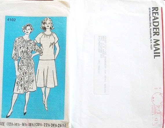 Women's Top with Gathered Neck, Tie Belt, and Skirt - Vintage 1980s Mail Order Sewing Pattern 7102 - Half Size / Bust 35-49 - Factory Folds