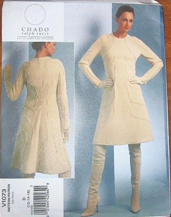 Women's Chado Ralph Rucci Dress with Shaped Pintuck Tuck Details - Vogue American Designer Sewing Pattern 1073 - Bust 34-38 - Factory Folds