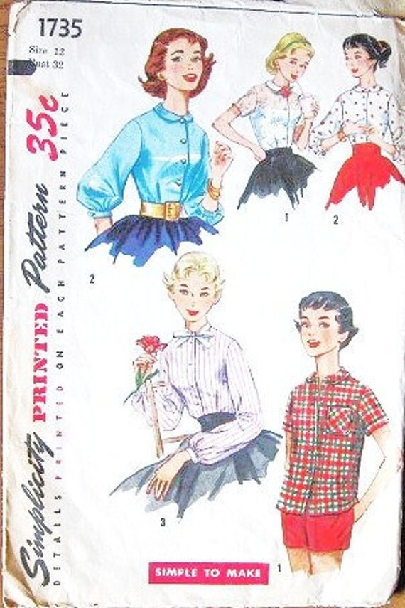 Junior Miss Dress Style or Casual Style Blouse with Sleeve and Collar Options - Vintage 1950s Simplicity Easy Sewing Pattern 1735 - Bust 32