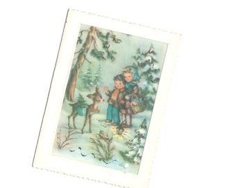 VINTAGE Post card from Bulgaria / Greeting glitter card Forest story / Winter tale Children Holidays / Relief Rustic Christmas gift by DILMA