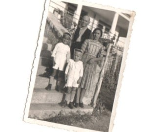 Vintage Photo Family of Small Town, Snapshot Photography, Paper Ephemera, Old Photo, Photo Image Collectibles, Black White Photography