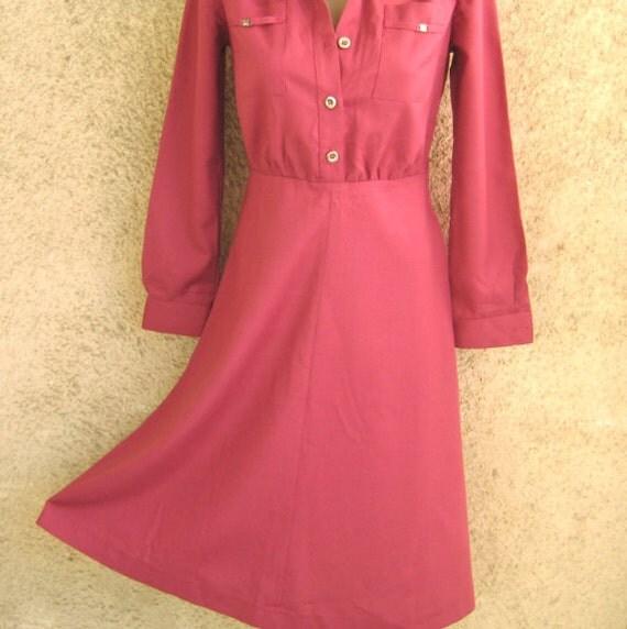 Vintage Midi Dress Purple Magenta, A-line Skirt Cotton Synthetic, Long sleeve Pockets Retro Dress, Women Clothing M 8 / 10 US 10 / 12 UK