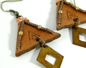 RESERVED// Leather Teepee Earrings