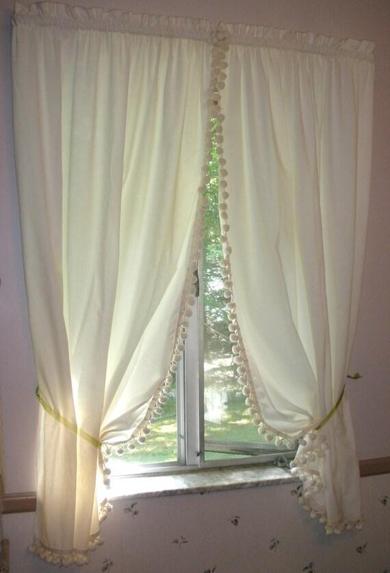 Vintage Farmhouse Kitchen Curtains Unbleached Muslin Cotton