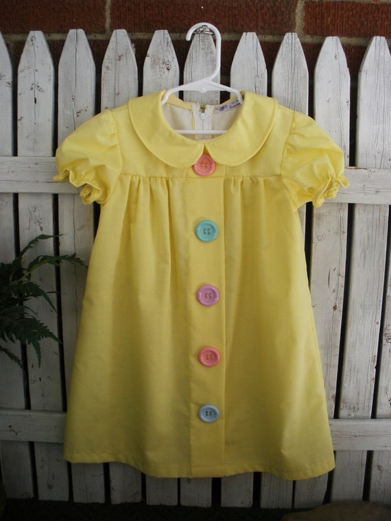 1950's Vintage Inspired Little Girl's Dress . Buttercup Yellow with Big Buttons .  An Original by Seams Original Size 4