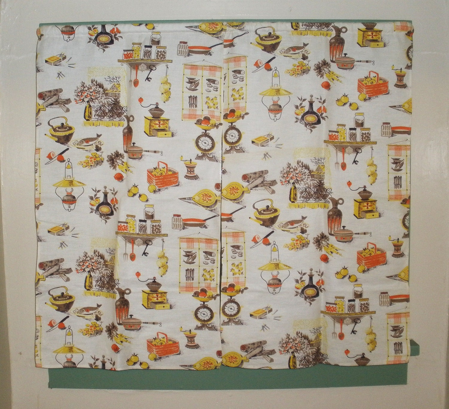 Vintage Kitchen Curtains 1950s One Pair Super Cute Over