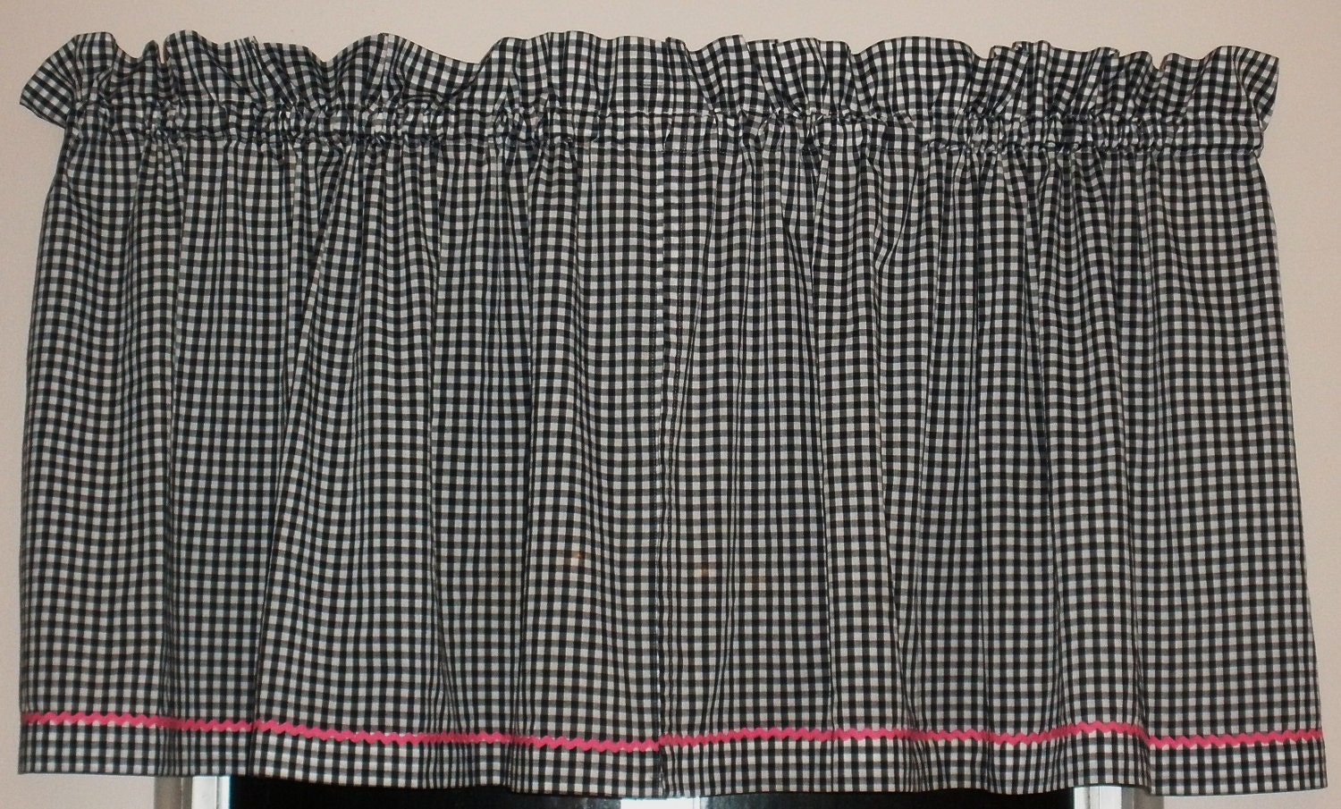 Vintage Black And White Gingham Curtains With Pink Trim