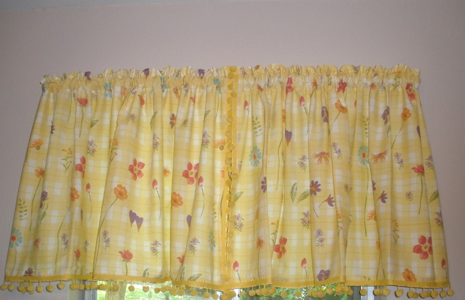 vintage kitchen curtains yellow and white with flowers and