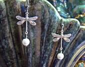 Dragonfly Earrings  Crystal Pearl Dangle Earrings June Birthstone Gift Idea Prom Statement Earrings Bridal Gift Wedding Anniversary