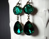 Emerald Green Rhinestone Dangle Earrings Angelina Jolie Emerald Earrings Replicas May Birthstone Wedding Prom New Year's Eve  Party
