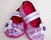 Baby Booties - Newborn, Infant, Baby Slippers, Crib Shoes, Footwear, 0 - 18 Months - Pink and Purple Floral Mary Janes