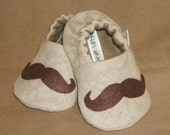 Mustache Baby Booties -  Newborn, Infant, Baby Slippers, Crib Shoes, Footwear, 0 - 18 Months - Mustache Booties