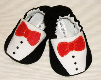 Tuxedo Baby Booties - Newborn, Infant, Baby Slippers, Crib Shoes, Footwear, 0 - 18 Months