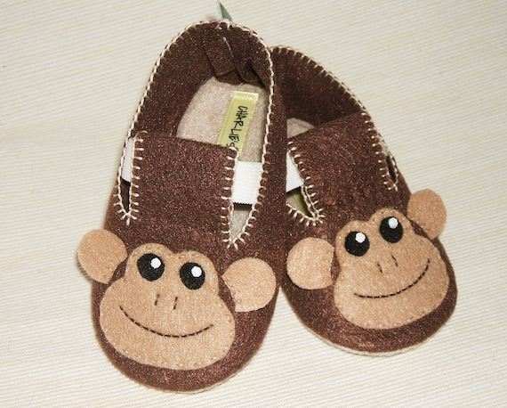 Baby Booties - Newborn, Infant, Baby Slippers, Crib Shoes, Footwear, 0 - 18 Months - Adorable Monkey Booties - Boys or Girls