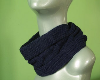 Cable knitted Extra Wide Neckwear Headwrap Headband/ Medieval Blue