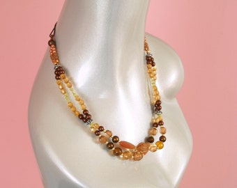 Bohemian Beaded Headwrap Necklace/Brown