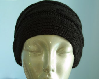 Cable knitted Extra Wide Neckwear Headwrap Headband/ Jet Black
