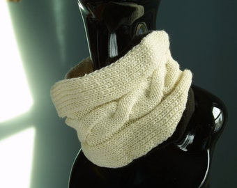 Cable knitted Extra Wide Neckwear Headwrap Headband/Antique White