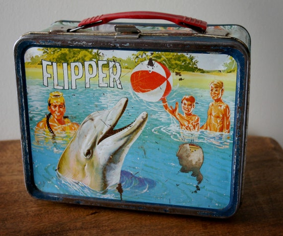 Reserved for Bob Flipper the dolphin metal lunch box vintage thermos