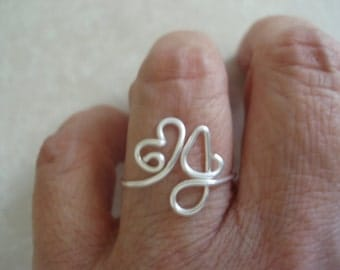 Adjustable Heart and Upper Case J Initial Ring