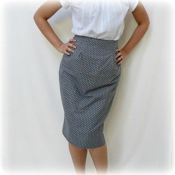 Vintage Inspired Pencil Skirt Reversible 1940s 1950s Gray Black