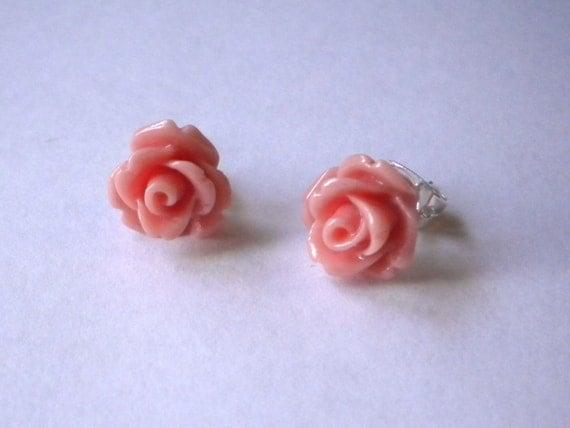 Mini Pink Rose Studs