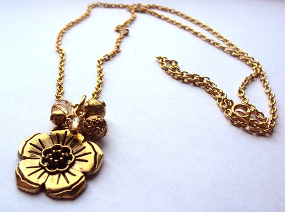 SALE Gold Flower Charm Necklace