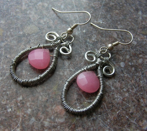 SALE Pink Scroll Earrings