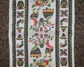 Vintage Folk Art Kitchen Dish / Hand Towel