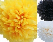 12 Tissue Pom Poms- Bumble bee party