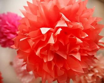 12 Tissue Poms- Your color choice- Sale