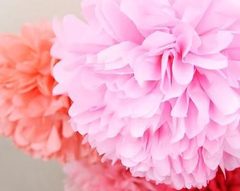 16 Tissue Pom Poms- Princess Pink party