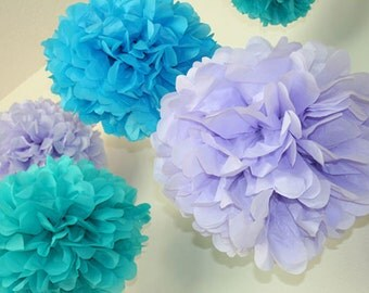 12 Tissue Pom poms- Under the sea