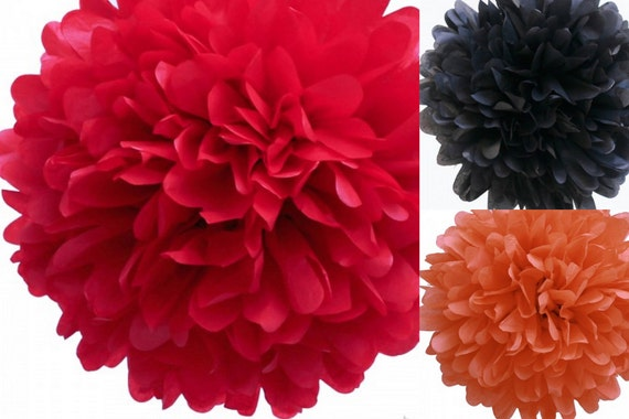 6 tissue poms- Elmo Party