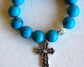 ELECTRIC BLUE cross charm bracelet with turquoise and Swarovski crystals