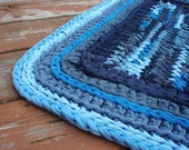Rainstorm rag rug: upcycled, knitted and crocheted rainy day greys and blues. - ooak