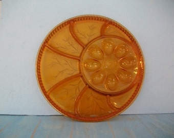 Egg Plate Vintage Amber Round Relish Tray Serving Platter, Kitchen Decor